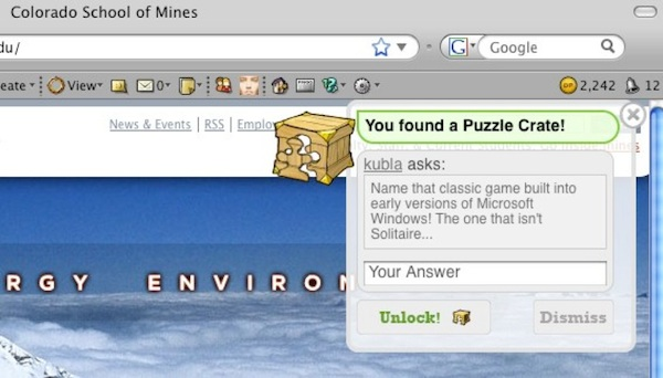 a puzzle crate on mines.edu